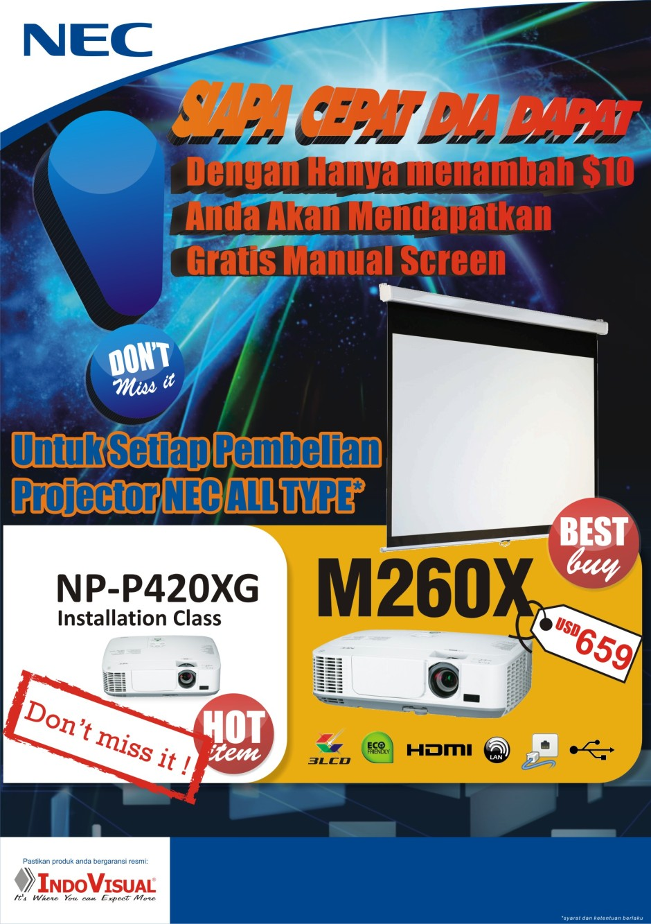 Gratis Screen untuk Pembelian NEC projector